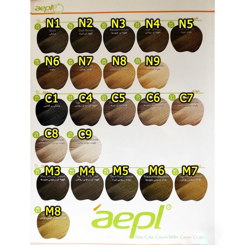 رنگ-موی-حرفه-ای-کراتینه-ایتالیایی-اپل-سری-رنگ-طبیعی-دودی-و-زیتونی