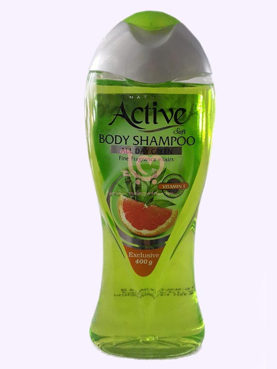 شامپو بدن شفاف اکتیو به رنگ فسفری