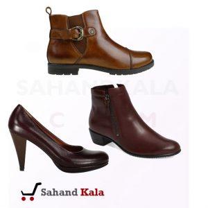 کفش زنانه چرم رنگ قهوه ای